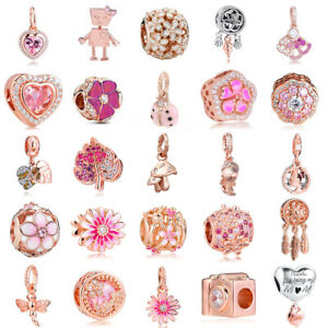 Rose Gold Plated 925 Silver Charms Beads Fit Original Bracelets Necklace Chain