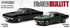1968 DODGE CHARGER R/T & FORD MUSTANG STEVE MCQUEEN BULLITT SET 1/43 GREENLIGHT