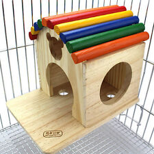 Large Hamster Nest Perch Rat House Gerbil Mouse Natural Wood Small Animal Toy