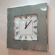 Modern Shimmer Glitter Crystals Mirror Glass Square Wall Clock 50cm Silver 221