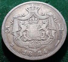 VERY RARE MINT ROMANIA KINGDOM 1884 KING CAROL I 5 LEI SILVER COIN