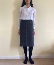 Vintage 1990s Monsoon Tweed Herringbone Grey Black Smart Skirt Midi Pencil 10 12
