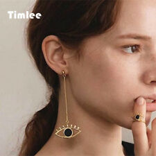 Timlee E177 Fashion Unique Long Outline Hollow Eyes Alloy Drop Earrings