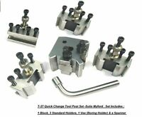T37 Quick Change Toolpost 10mm Lathe Fits MYFORD SUPER 7 ML7 LATHES 4 holders