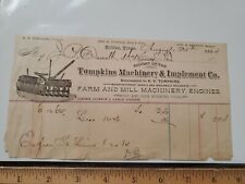Vintage 1884 Tompkins Farm Farm Machinery  Machinery Implement Co. Letterhead