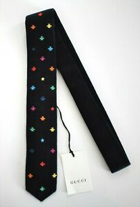 New Authentic GUCCI WARM RAINBOW STARS & BEES Blue WOOL KNIT Narrow Neck Tie