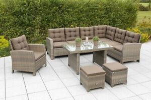 Merxx Salerno Eckbank Dinning Set 1 Sessel 2 Hocker  inkl. Auflagen, Grau/Beige