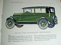 1927 Paige 6-45 Original Color Brochure, Paige-Detroit, Michigan