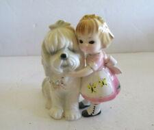 Vtg Josef Girl with Dog Shih Tzu Foil Label Butterflies