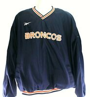 Vintage Reebok Pro Line Denver Broncos Mens Pullover V-Neck Windbreaker size XL