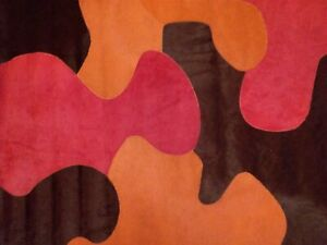 EDELMAN LEATHER Puzzle Pattern Hair-on hide stitched rug orange red crimson new