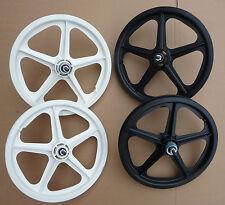 "WHEELS BMX 16"" Skyway Tuff II Wheelset Black White MINI BURNER mag Front Rear"