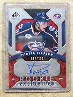 08-09 UD SPGU SP Game Used Rookie Exclusives Auto #RE-NF NIKITA FILATOV /100