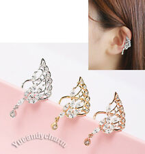 Made in Korea Unique Gem Angel Wing non-pierced Ear bone Clip-on Cuff Rose Gold