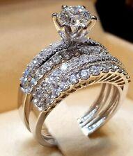 Silver White Sapphire Ring Set Anniversary Bride Wedding Band Jewelry size 8