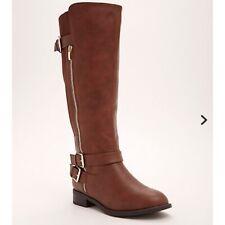 NEW Torrid Double Buckle Side Zip Knee High Boots Wide Width Brown Size 12.5
