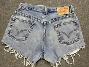 Levi's 550 Denim Shorts Womens 31 Cut Off Relaxed Fit Blue Reworked Adult