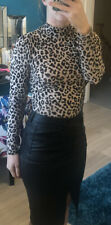 New Look Cream High Neck Ling Sleeve Leopard Print Top Size 8