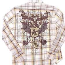MK MACHINE Shirt Large Pearl Snap Tan Brown Plaid Cross Knight Wings