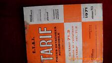 "TARIF DE PIECES AUTOMOBILES  ""E.T.A.I.   3ème EDITION 1971"""