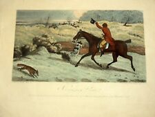 Gravure Chasse a Coure 1826 Hunting  By Clerc Smith Etched Hawk Sworth renard