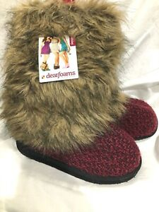 Dearfoams Red Knit with Faux Fur Bootie Indoor / Outdoor Soles  NEW / NOS