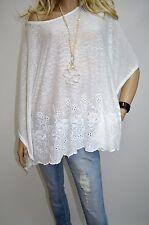 14 16 18 20 Italian Boutique Lagenlook Tunic Poncho Embroidery Boho White