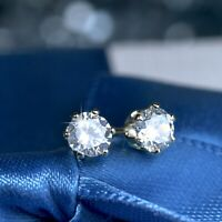 18k yellow gold 925 silver made with Swarovski crystal round stud earrings 4mm