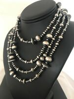 """70"""" LONG Navajo Pearls Native American Sterling Silver Necklace Gift 8503"""