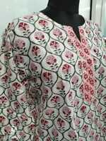Handmade Loose Fit Floral Block Print Pattern V Neck Tunic Blouse With Tassel From India Matr Boomie