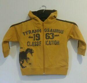 Boys Dinosaur Hoodie Size 2-3 yrs Tyrannosaurus Zip thru Sweatshirt Respect BNWT