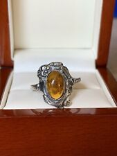Pretty Sterling Silver Amber Ring