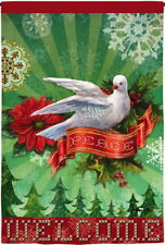 NEW EVERGREEN TWO SIDED EMBELLISHED CHRISTMAS GARDEN FLAG PEACE DOVE 12.5x18