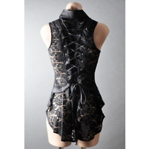 Womens Evening Sheer Lace Corset Back Victorian Steampunk Goth Blouse Top S M L