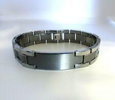 Men's Large Solid Tungsten ID Brushed and Polished Design Bracelet 8.5 Inches