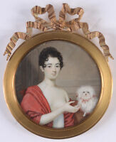 "Gaspare Betoldi ""Young lady with Maltese dog"", important miniature!!, ca. 1810"