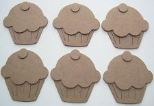 "(16) SMALL CUPCAKE - Birthday Cup Cakes Unfinished Chipboard Die Cuts - 2"" Tall"