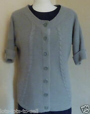CC FASHION SHORT SLEEVE CARDIGAN GREEN COTTON SIZE SMALL