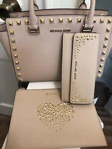 Michael Kors Ballet Pink Selma Studded Satchel Handbag, Wallet, Wristlet Set NWT