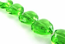 "8 pcs Lime Green Crystal Heart Glass Beads 20mm heart"" New"