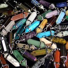 Natural Quartz Crystal Healing Point Chakra Cutted Gems Pendants Reiki Necklace