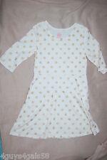 Girls Knit Dress IVORY CREAM w/ GOLD GLITTER POLKA DOTS 3/4 Sleeve L 10-12