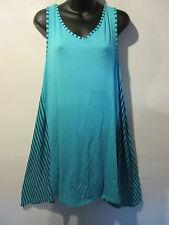 Mini Dress fit L XL 1X 2X Plus Long Tunic Top or Sundress Blue Soft Stretch J580