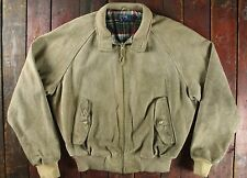 VTG RALPH LAUREN POLO STONE SUEDE LEATHER ZIP UP CASUAL BOMBER JACKET L/XL