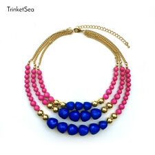 Statement Necklace for Women 3 Layers Pink Blue Beads Golden Bib Strand Jewelry