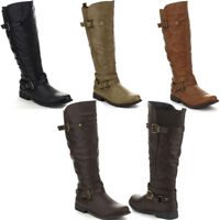 NEW KNEE HIGH RIDDING WOMAN BOOT LOW HEEL LACE UP COMBAT BUCKLE ZIPPER GIRL SHOE