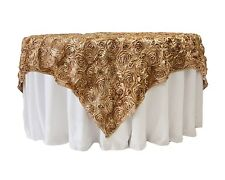 """10 Grandiose 3D Large Rose 72""""x72"""" Rosette Satin Overlays Tablecloth Table Cover"""