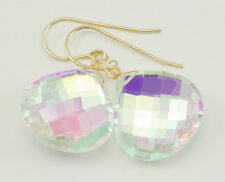 Mystic Quartz Earrings Faceted Teardrop 14k Gold Filled AAA Large Rainbow Clear