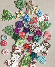 30 botón de forma de madera de Navidad Santa Muñeco De Nieve árbol de tarjeta de arte artesanales elaboración de tarjetas