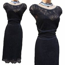Exquisite KAREN MILLEN Black Vintage Lace Wiggle Cocktail Party Midi Dress 12 UK